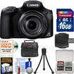 Canon - PowerShot SX60 HS Wi-Fi Digital Camera with 16GB Card + Case + Flex Tripod + Accessory Kit - Black