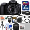 Canon - PowerShot SX60 HS Wi-Fi Digital Camera w/ 32GB Card+Case+Flash+Battery+Tripod+Tele/Wide Lens Kit - Black