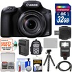 Canon - PowerShot SX60 HS Wi-Fi Digital Camera w/ 32GB Card+Backpack+Flash+Battery+Charger+Tripod+Kit - Black