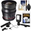 Samyang - 24 T/1.5 Cine Manual Focus Wide Angle Lens for Canon Cameras+Microphone+LED Light+Bracket+Acc Kit - Black