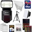 Sony - Alpha HVL-F60M Flash w/Video Light w/64GB Card+Batteries+Charger+Diffuser+Bounce Reflector+Tripod - Black