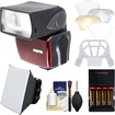 Sunpak - DigiFlash 2800 Flash Unit for Nikon iTTL+Batteries+Charger+Soft Box+Bounce Diffuser+Clean Kit - Black