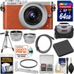 Panasonic - Lumix DMC-GM1 Camera+12-32 Lens Orange+64GB Card+Hand Grip+Case+Batt+Tripod+Tele/Wide Lenses Kit - Orange