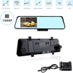"Image - 4.3"" Inch TFT LCD Dual Lens Rearview Mirror Car DVR Video Front/Back Car Camera Recorder CMOS - Black"