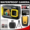 Coleman - Duo 2V9WP Dual Screen Shock + Waterproof Digital Camera with 16GB Card + Case + Kit - Yellow