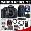 Canon - EOS RebelT5 Camera Body+EF-S 18-55 IS II Lens+75-300 3+500 Lenses+32GB Card+Backpack+Battery+Monopod