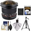 Samyang - 8mm f/3.5 Manual Focus Fisheye II Lens w/ Detachable Hood (for Sony Alpha Cameras) w/ Tripod+Acc Kit - Black