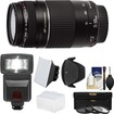 Canon - EF 75-300mm f/4-5.6 III USM Zoom Lens with 3 Filters + Hood + Flash + 2 Diffusers + Kit - Black