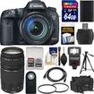 Canon - EOS 7D Mark II GPS Camera+EF-S 18-135 IS STM Lens+75-300 3 Lens+64GB Card+Case+Flash+Battery+Tripod - Black