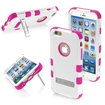 Insten - Tuff Dual Layer Hybrid Stand PC/Silicone Case Cover For Apple iPhone 6 - White/Pink