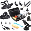 EEEKit - Bundle 18in1 Accessories for GoPro Hero 4 3+ 3 Large Size Case+Cable+Head/Chest Strap Mount+Monopod - Black