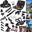EEEKit - Bundle Sports Kit for GoPro Hero 4/3+/3/2 Large Case+Monopod+ Helmet Mount+Chest/Head Belt Car Mount - Black