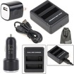 EEEKit - Bundle 4in1 Charger Kit for GoPro Hero 4 Dual Slot Battery Charger+USB Car Charger+Wall Charger - Black