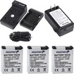 Fosmon - Bundle Quick Compact Wall & Car Battery Charger + 3x 1200 mAh Li-ion Battery Pack for GoPro Hero3, Hero3+