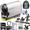 Sony - HDR-AS100V Wi-Fi GPS HD Camcorder + 64GB Card + Flat Surface Suction Cup + 2 Helmet Mounts + Battery