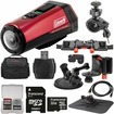 Coleman - Aktivsport CX9WP GPS HD Video Action Camera Camcorder + 32GB + Car Suction Cup + Dashboard Mounts - Red