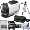 Sony - Action Cam HDR-AZ1 Mini HD Video Camera Camcorder with 32GB Card + Case + Tripod + Accessory Kit