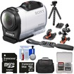 Sony - HDR-AZ1 Mini HD Video Camera Camcorder with 64GB Card + 2 Helmet + Flat Surface Mounts + Case