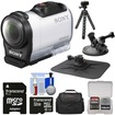 Sony - HDR-AZ1 Mini HD Video Camera Camcorder + 32GB Card + Car Suction Cup + Dashboard Mounts + Case + Flex Tripod + Kit