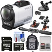 Sony - Mini HD Video Camera Camcorder w/ 64GB Card+2 Helmet Flat Surface+Suction Cup Mount+Backpack