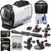 Sony - HDR-AZ1 Mini HD Camcorder+64GB Card+2 Helmet Flat Surface Suction Cup+Bike Handlebar Mounts+Case+Kit