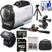 Sony - HDR-AZ1 Mini HD Camcorder + Live View Remote + 32GB + ATV/Bike Handlebar + Vented Helmet Mounts