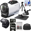 Sony - HDR-AZ1 Mini HD Camcorder + Live View Remote + 32GB + Car Suction Cup + Dashboard Mounts + Case + Flex Tripod + Kit