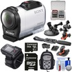 Sony - HDR-AZ1 Mini HD Camcorder + Live View Remote + 64GB + 2 Helmet Flat Surface + Suction Cup Mounts