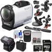 Sony - Action Cam HDR-AZ1 Mini HD Camcorder+Live View Remote+64GB+2 Helmet Flat Surface Suction Cup