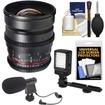 Samyang - 24mm T/1.5 Cine Manual Focus Wide Angle Lens (for Video DSLR Nikon Cameras)+Microphone+LED Light - Black