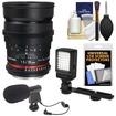 Samyang - 35mm T/1.5 Cine Manual Focus Wide Angle Lens (for Video DSLR Nikon Cameras)+Microphone+LED Light - Black