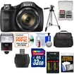 Sony - Cyber-Shot DSC-H300 Digital Camera w/ 32GB Card+Batteries+Charger+Case+Tripod+Flash+Video Light+Kit - Black