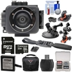 Intova - EdgeX Waterproof Sport HD Cam+32GB Card+Battery+2 Helmet Flat Surface+Car Suctioncup Mounts+Case+Kit - Black