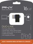 PNY - Duo-Link OTG 16GB USB 2.0/Micro USB Flash Drive - Black/Blue