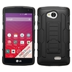 Insten - Car Armor Dual Layer Hybrid Stand PC/Silicone Case Cover for LG Optimus F60 LG Tribute LS660 / MS395 / Transpyre VS810PP - Black