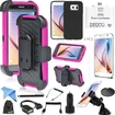 EEEKit - Bundle 14 Items Accessories for Samsung Galaxy S6, Kickstand Armor Belt Case+OTG Cable/Card Reader