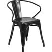 Office Furniture in a Flash - Metal Indoor-Outdoor Chair with Arms - Black Deal