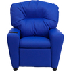 Office Furniture in a Flash - Contemporary Blue Vinyl Kids Recliner with Cup Holder Deal