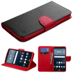 Insten - Stand Folio Flip Leather [Card Slot] Wallet Flap Pouch Case Cover Compatible with LG G Stylo Stylus LS770 - Black / Red (Black/Red)