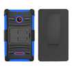 Insten - Dual Layer [Shock Absorbing] Protection Hybrid PC/Silicone Holster Case Cover Compatible with Microsoft Lumia 435 - Black / Blue Deal