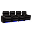 Lane - Dynasty Home Theater Seating - Bonded Leather - Row of 4 - Power Recline - Black