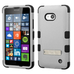 Insten - Dual Layer [Shock Absorbing] Protection Hybrid Stand Rubber Hard PC/Silicone Case Cover for Microsoft Lumia 640/640 - Gray / Black Deal