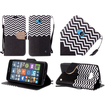 Insten - Chevron Stand Folio Flip Leather [Card Slot] Wallet Flap Pouch Case Cover w/ Diamond Compatible with Microsoft Lumia 640 - Black / White Deal