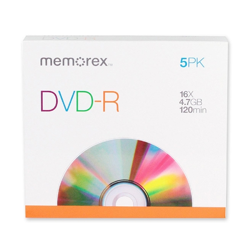 Memorex - DVD Recordable Media - DVD-R - 16x - 4.70 GB - 5 Pack Slim Case