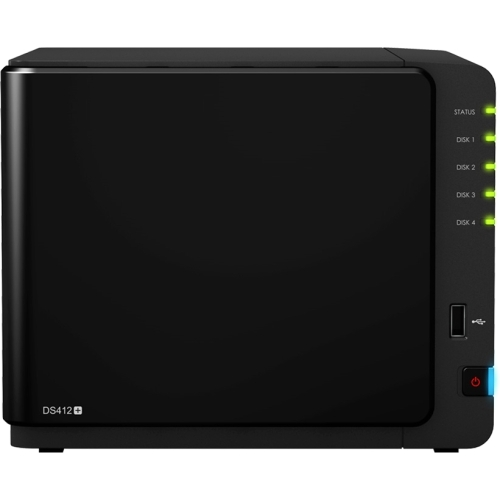 Synology DiskStation DS412+ Network Storage Server - Dual-core (2 Core) 2.13 GHz - 4 x Total Bays - 1GB RAM DDR3 SDRAM - RAID Supported 0, 1, 5, 6, 10, 5+Spare, JBOD - eSATA - Network (RJ-45) - 3 x USB Ports - 1 - 2 USB 3.0 Port(s) - DiskStation Manager