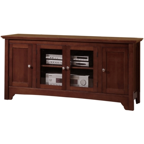 Walker Edison - 52-in. Solid Wood Console with 4-Doors - Walnut Brown