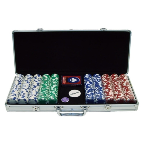 Trademark Commerce 10-1055-5001S 500 11.5G Holdem Poker Chip Set W/Aluminum Case