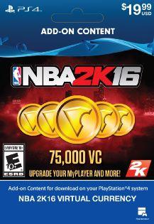 Nba 2k16 - 75000 Vc Dlc - Playstation 4 (digital Download Add-on)
