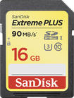 SanDisk - Extreme PLUS 16GB High-Definition Secure Digital High Capacity (SDHC) UHS-3 Memory Card - Black/Gold