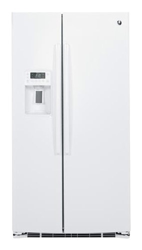GE - Profile Series 25.4 Cu. Ft. Side-by-Side Refrigerator with Thru-the-Door Ice and Water - High-Gloss White